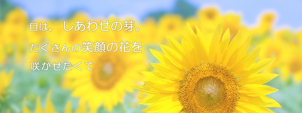 目は、しあわせの芽。 たくさんの笑顔の花を咲かせたくて